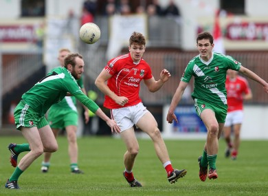 Feely, centre, and Athy were beaten by Sarsfields in the Kildare county final.