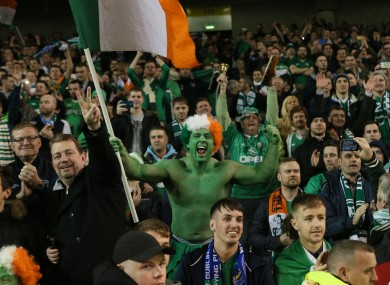 Ireland fans pictured during the Bosnia playoff at the Aviva Stadium.