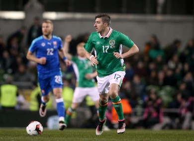 Republic of Ireland's Stephen Ward on the ball during tonight's game.