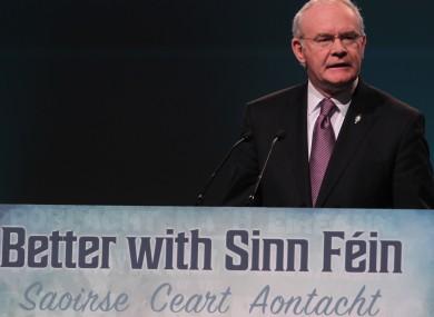 Deputy First Minister of Northen Ireland Martin McGuinness speaking on day two of the Sinn Fein Ard Fheis.