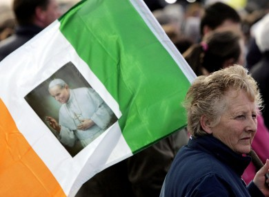 A scene from a sunset memorial service for Pope John Paul in the Phoenix Park in Dublin, 2005.