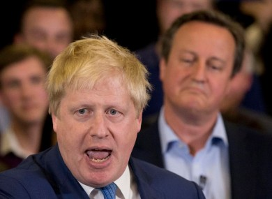 Britain's Prime Minister David Cameron, right, listened as then Mayor of London Boris Johnson spoke at a mayoral election campaign rally for Britain's Conservative party candidate for Mayor of London Zac Goldsmith earlier this month.
