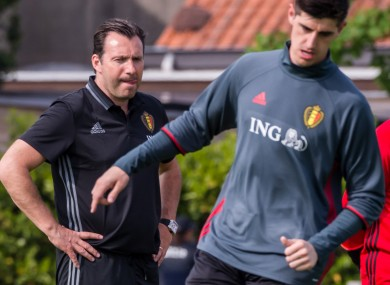 Wilmots watching on as Courtois trains.