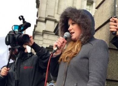 DJ and campaigner Nikki Hayes at a mental health rally in April.