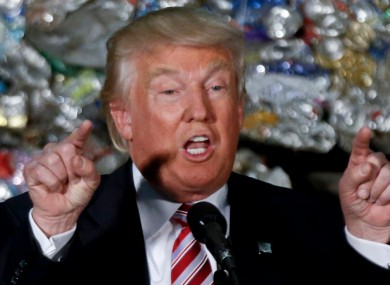 Donald Trump speaks during a campaign stop at Alumisource, a metals recycling facility in Monessen, Pennsylvania.