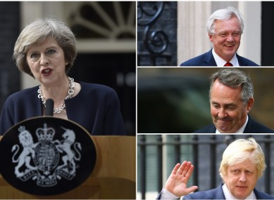 [Clockwise from left] New PM Theresa May, David Davis, Liam Fox and Boris Johnson