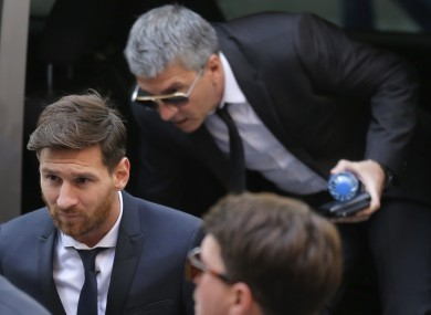 Messi arriving in court last month.