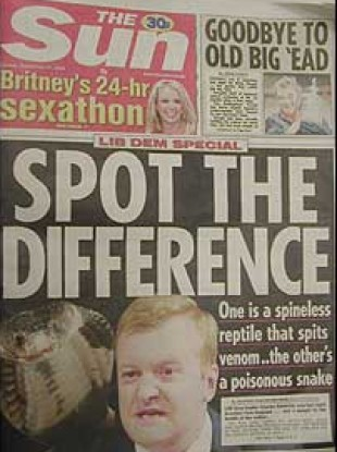 The infamous 2003 front page of the The Sun called Charles Kennedy a