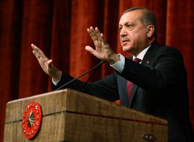 President Erdogan delivering his speech in Ankara yesterday.