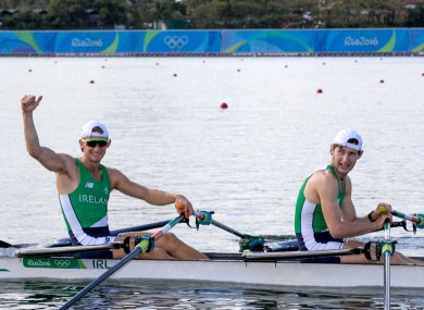 The O'Donovan brothers celebrating their Olympic final qualification today.