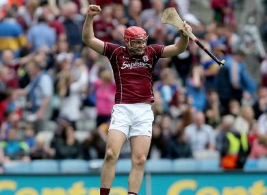 Iarla Tannian celebrates Galway's All-Ireland semi-final win over Tipperary last year.