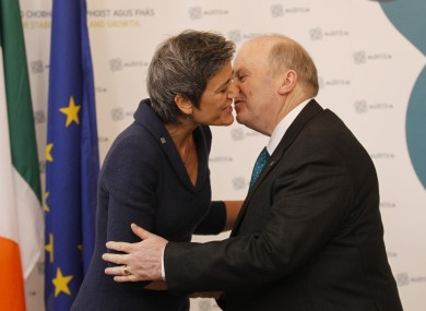 Margrethe Vestager is greeted by Finance Minister Michael Noonan in Dublin Castle in 2013.