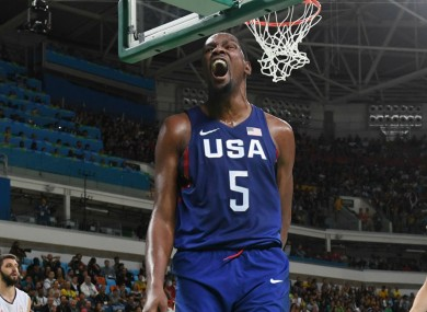 Kevin Durant celebrates scoring for Team USA