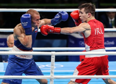 Michael Conlan (right) in action against Vladimir Nikitin.