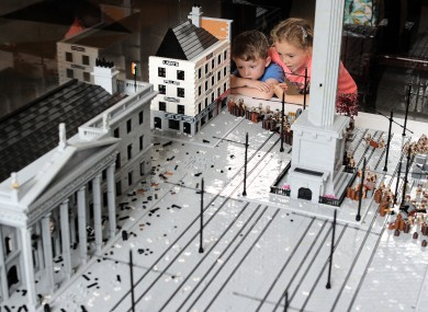 A 50,000 piece lego sculpture of the GPO, Nelon's Pillar and O'Connell St on display at the GPO.