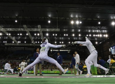 Competitors during the women's fencing component of the Modern Pentathlon in Rio today.