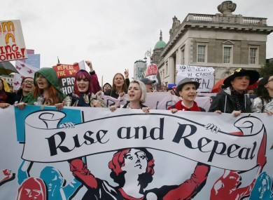 Demonstrators at the 5th Annual March for Choice which marched through Dublin city on Saturday.