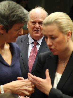 Minister for Finance Michael Noonan, center, looks on as Margrethe Vestager, now European Competition Commissioner, speaks to Jutta Urpilainen, then Finnish Finance Minister back in 2012.