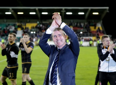 Stephen Kenny salutes fans at the final whistle.