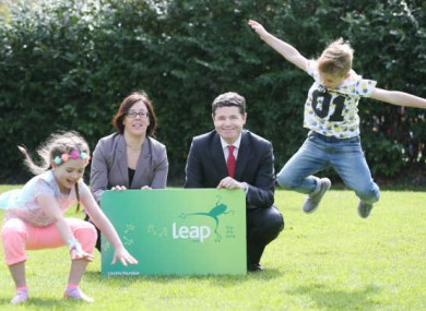 NTA chief executive Anne Graham with Jude Davis (7) from Finglas and Lacey Ann Walsh (7) from Blanchardstown and former Minister for Transport Paschal Donohoe.