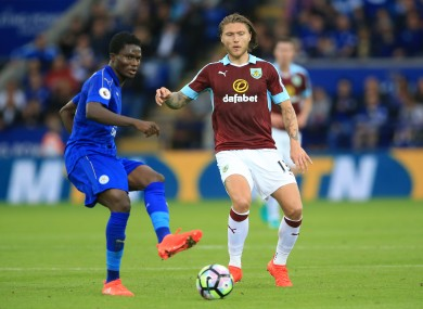 Jeff Hendrick (right) with Leicester's Daniel Amartey.