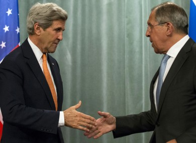 US Secretary of State John Kerry, left, and Russian Foreign Minister Sergey Lavrov, who agreed a ceasefire peace deal earlier today.
