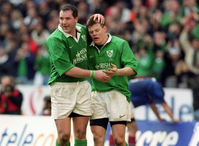 O'Driscoll is congratulated by 'Axel' after scoring in Paris back in 2000.