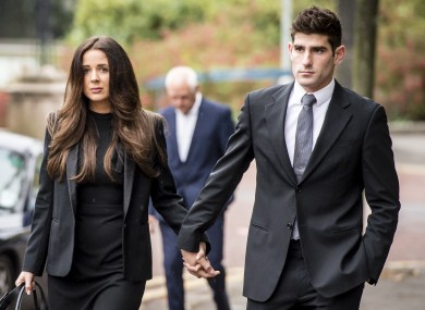 Footballer Ched Evans arrives at Cardiff Crown Court with girlfriend Natasha Massey.