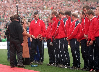 Irish President Mary McAleese is introduced to the England team by Captain Martin Johnson after the England team lined up in the wrong position before the start of the match.