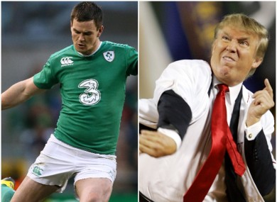 Ireland rugby star Johnny Sexton (left) and Republican presidential nominee (and amateur baseball pitcher) Donald Trump