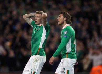 Republic of Ireland's James McClean (left) reacts after his goal is disallowed last night.