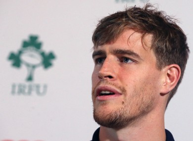 Ireland's Andrew Trimble during the press conference at Carton House Hotel