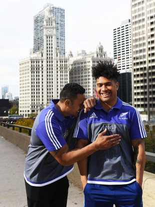 Jerome Kaino and Ardie Savea share a joke after Monday's press obligations.