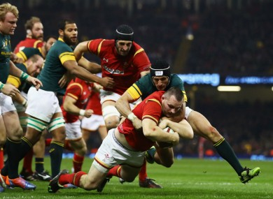 Ken Owens scores a try for Wales against South Africa