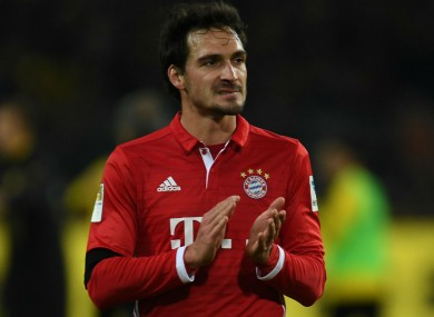 Hummels made the switch from Dortmund to Bayern this summer.