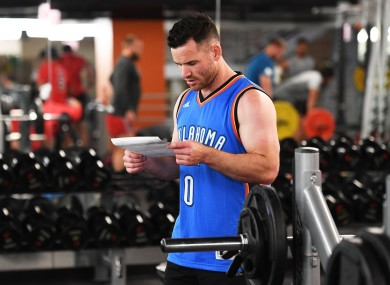 Crotty prepares for work in New Zealand's downtown gym.