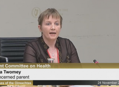 Parent Vera Twomey addressing the Oireachtas Health Committee