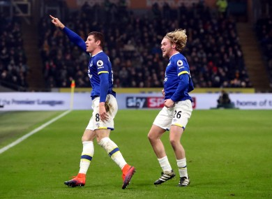 Everton's Ross Barkley celebrates scoring his side's second goal of the game with Tom Davies (right).