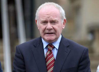 First Minister Martin McGuinness.