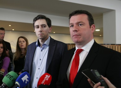 Simon Harris and Alan Kelly pictured in 2015