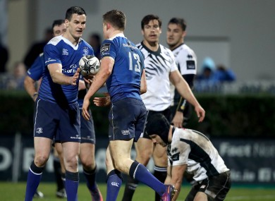 Sexton congratulates Garry Ringrose on his second-half try.