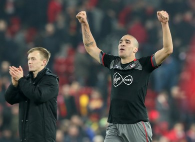 Southampton's Oriol Romeu (right) and James Ward-Prowse celebrate after the EFL Cup semi-final.