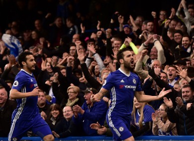 Chelsea's Cesc Fabregas celebrates scoring his side's first goal of the game.