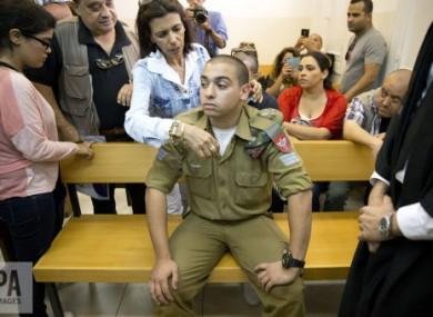 Sergeant Elor Azaria inside an Israeli military court in Tel Aviv.