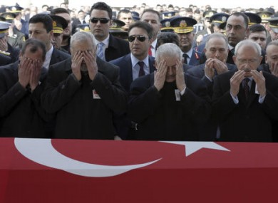 Mourners at the funeral of a soldier killed by IS militants on Tuesday