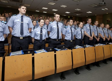 New Garda recruits stand to attention in Templemore.