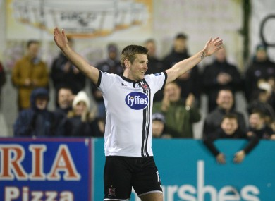 Dundalk's Patrick McEleney celebrates scoring his second goal.