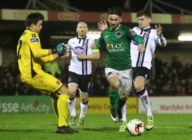 Maguire, pictured here playing against Dundalk in the President's Cup final, has two goals in two league matches this season.