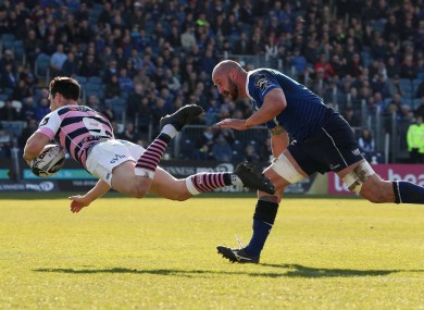 Tomos Williams dives over for the first of Cardiff's three tries.