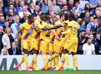 Crystal Palace's Christian Benteke (second from left) celebrates after scoring their second goal with his team-mates.